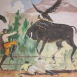The bull represents Spain and the condor the Andean people