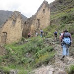 Arriving at the colcas -- the Inca version of a modern day bank (safe and secure)