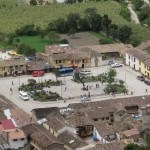 The main square in Ollantaytambo lies far below