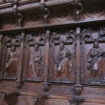 Woodwork in the choir area depicting the apostles