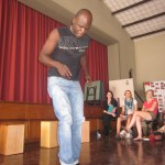 Demonstrating the zapateo (afro-peruvian tap dance)