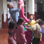 After class the children love to be thrown into the air