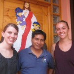 Grace and Hannah with Pastor Miguel Reyes at the Mennonite Brethren Church