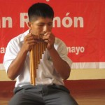 Playing the pan flute