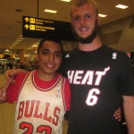 The first flight is to Miami (home of the Heat), then Chicago (the Bulls)