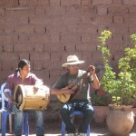 Amaru on the drum and Mauro on the cuatro, a four-stringed instrument
