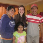 With her host siblings, Karen, Maria Esther and Jhon