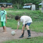 Volleyball is a favorite activity in the village