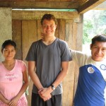 Will, after breakfast, with his host parents Ernestina and Edgar