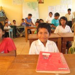 Meeting the children in the main classroom
