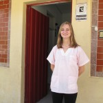 Emily at the door of the clinic