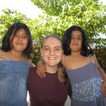 With her host sisters, Camila and Almendra