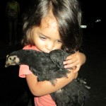 Her host sister, Belen, with her favorite chicken