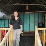 On the porch of her cabana -- her host mother owns the Gad Kha Kum Lodge