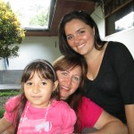 With her host sister, Valencia, and mother, Rocio