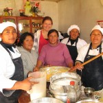 Kaitlyn with the kitchen staff at Compassion International's afterschool program