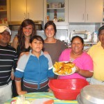 Glicerio, Sara, Alicia and Oswaldo preparing and serving us dinner