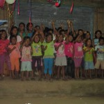 Teaching a new song to the village children