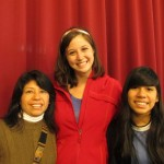 With her host mother, Rosario, and sister, Jimena