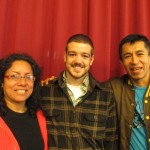 With his host mother, Eliana, and father, Ricardo