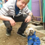 Meeting one of many canine residents of Chavin de Huantar
