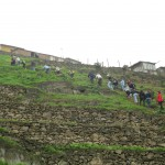 Hiking up the steep hill above the terraces