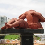 Delfin created this sculpture in El Parque del Amor (Love Park)
