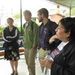 Our study coordinator, Celia, and students meet the director