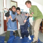 Physical therapy for a boy diagnosed with cerebral palsy