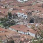The Plaza de Armas in Cusco can be seen in the distance