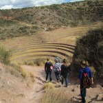 Descending into a series of concentric, circular terraces