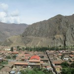 View of Ollantaytambo with the fortress in the distance