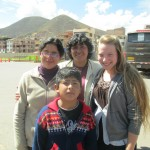Meeting members of her new host family: sister Eloisa, brother Caleb and mother Rosa
