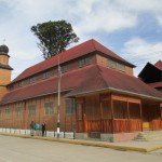 Constructed at the edge of the central plaza, Oxapampa Catholic Church is built entirely of wood