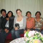 With members of her host family (from left): Lucho, Cecilia, Yeny and Teofila