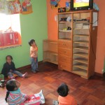 The children spend the first part of their day watching videos translated into Spanish