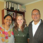 With her host parents, Raquel and Pastor Max, directors of the school