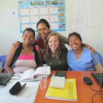 Andrea with staff members at the health clinic next door