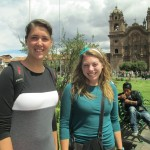 Anna and Mia inside the Plaza de Armas