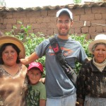 Brian works on the Ayma family farm with (from left) his mother Margarita, brother Jared and grandmother Teodora