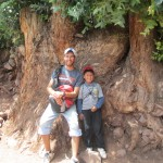 With his brother, Jared, next to a very old Eucalyptus stump