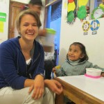 Rebecca spends all morning with the children in this class, assisting the teacher in a variety of ways