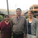Rebecca with her host mother, Valeria, and father, Pastor Roberto, current president of the Evangelical Mennonite Church of Peru