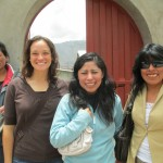 Outside the clinic with Juana (right) and several patients