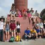 "Group photo at the ""Union y Paz"" (Union and Peace) Memorial"