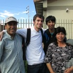 With members of his host family (from left) in the village of Huacarpay:  Pastor Celestino, Caleb and Ines