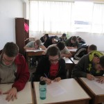The students work on their first quiz of the term