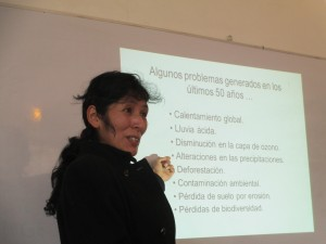"Gladys Allende gives her talk on ""Climate Change"""