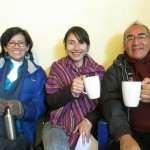 The Spanish instructors (from left) -- Luz, Yakeline and Moises -- during the afternoon break time