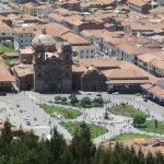 Close up of the Plaza de Armas, Cusco's main plaza, far below